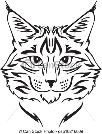 Vector Clipart of Maine Coon cat.