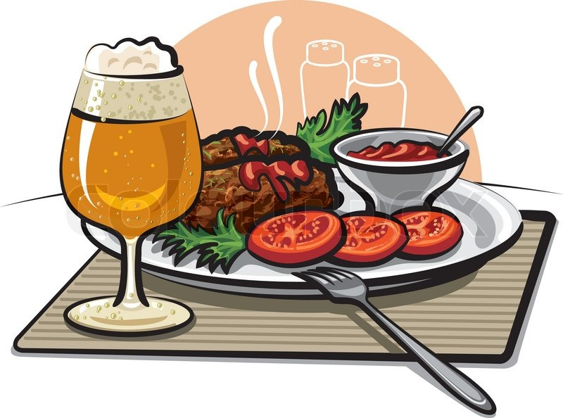 Beer, cutlets and sauce.