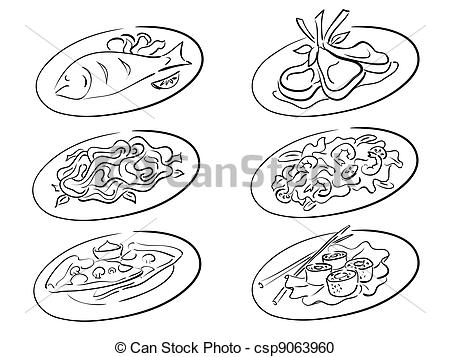 Vector Clipart of main courses.