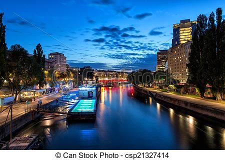 Stock Photography of Boat on Danube Canal in Vienna.