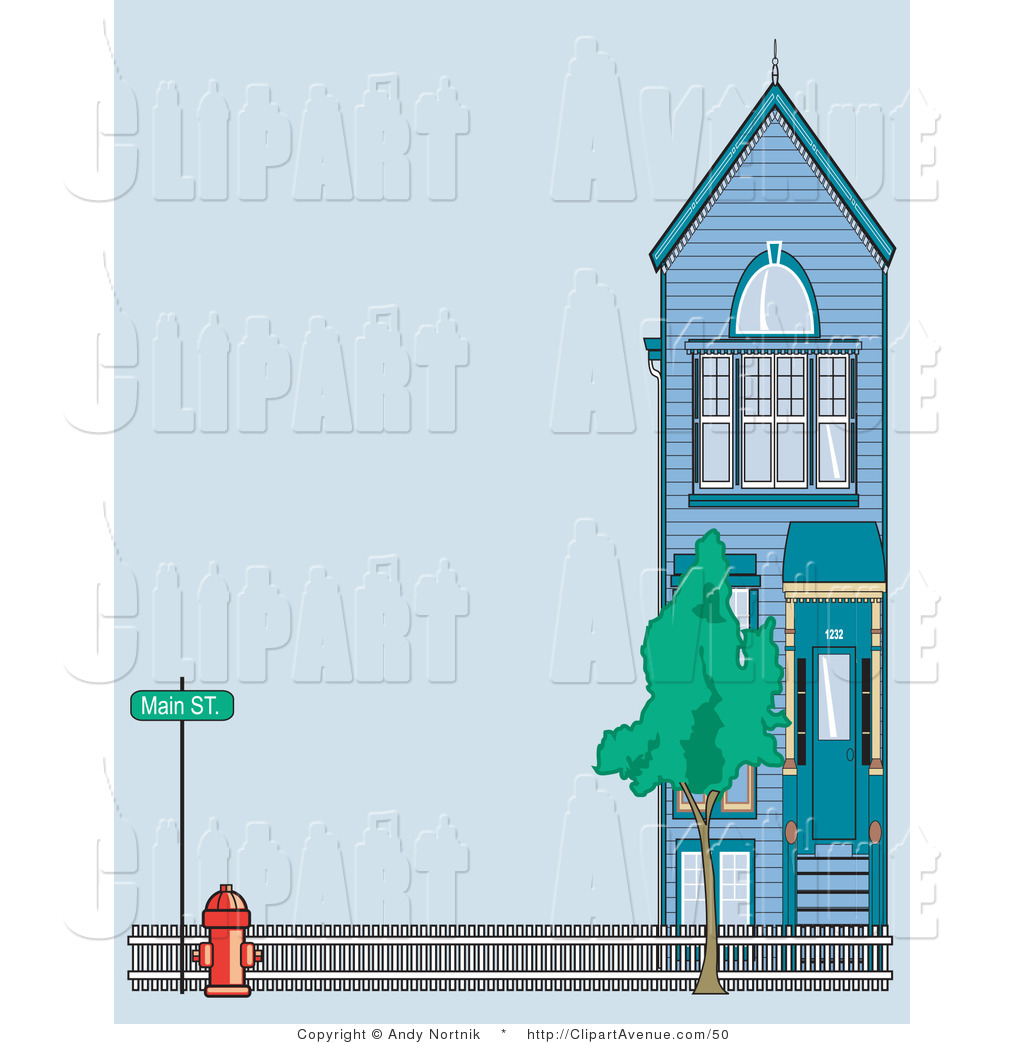 Avenue Clipart of a Red Fire Hydrant by a Fence and Town Home on.