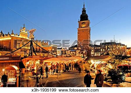 Stock Photograph of Christmas market at the Main market square.