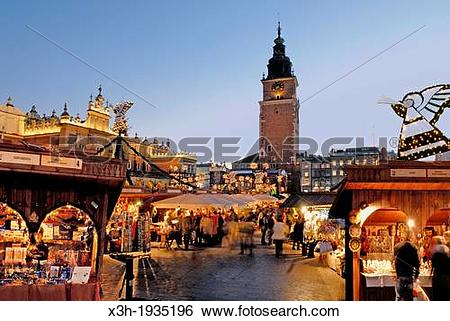 Stock Images of Christmas market at the Main market square, Krakow.