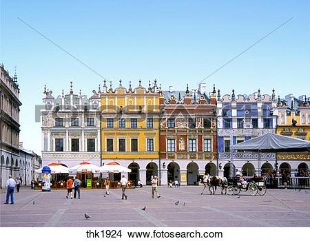 Stock Photo of Main Market Square in picturesque Zamosc member of.