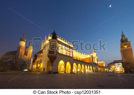 Stock Images of Big panorama of Rynek Main Market Square by Night.