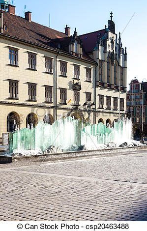Pictures of Main Market Square with modern fountain, Wroclaw.