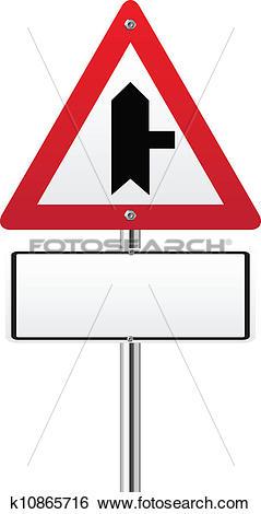 Clip Art of Crossroads Warning Main Road sign k10865716.