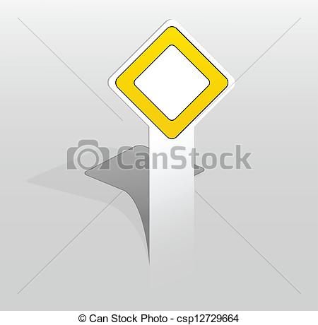 Clip Art Vector of Sticker with main road sign.