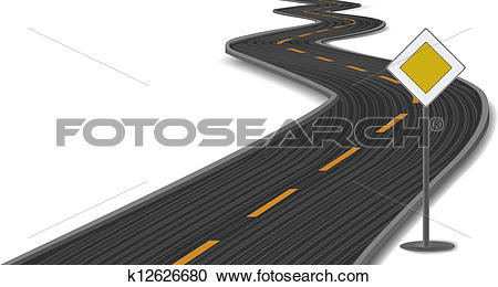 Clipart of Vector illustration of road with main.
