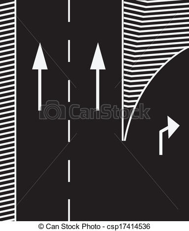 Vectors of Road markings to branch off the main road exit. Vector.
