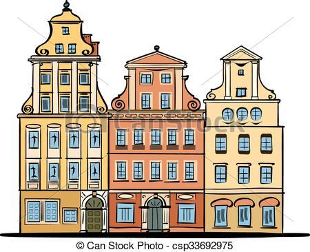 Vectors Illustration of Wroclaw Rynek square facades.