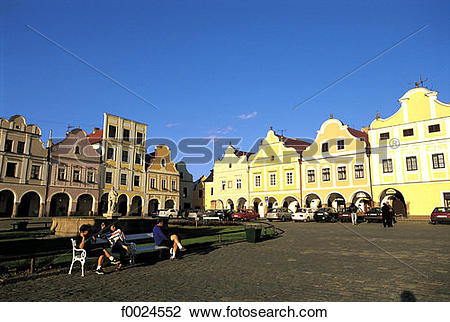 Stock Photo of Czech Republic, Telc, typical dwellings lining the.