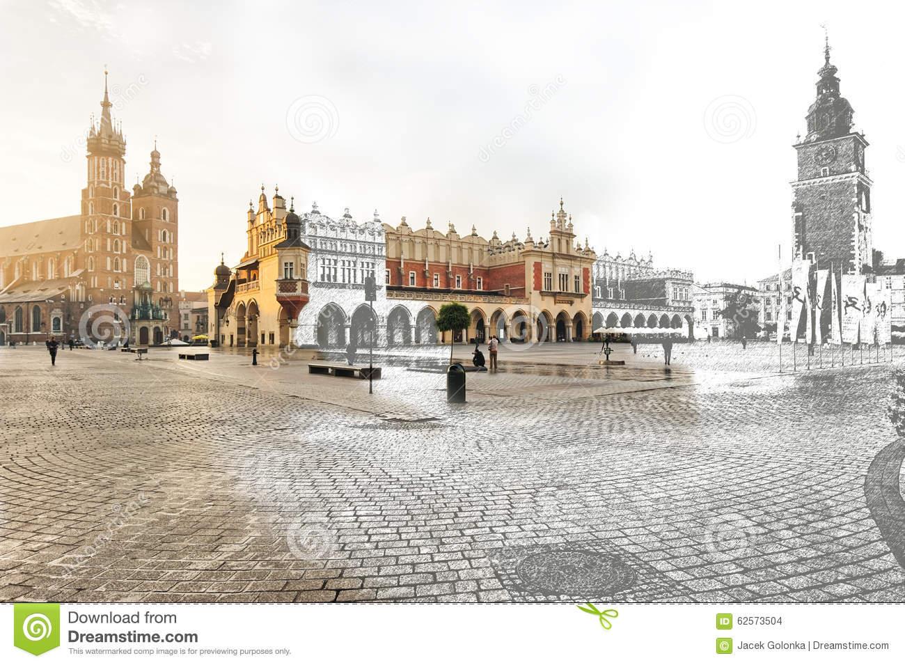 Krakow Main Square Royalty Free Stock Image.