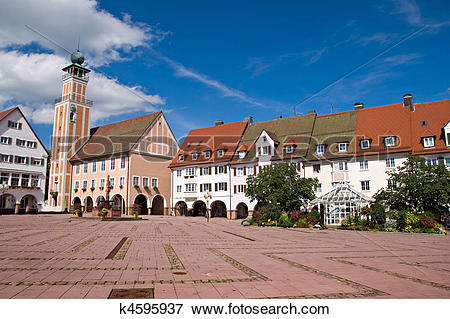 Picture of Main square in freudenstadt, Black Forest, Germany.
