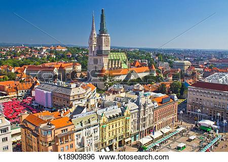 Stock Images of Zagreb main square and cathedral aerial view.