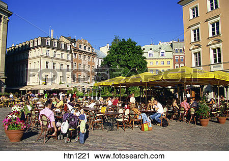 Stock Photography of Restaurant, Main Square, Doma Laukums, Old.