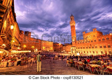 Stock Photography of Sienna main square.