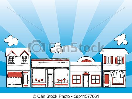 Clip Art Vector of Small Business Main Street.
