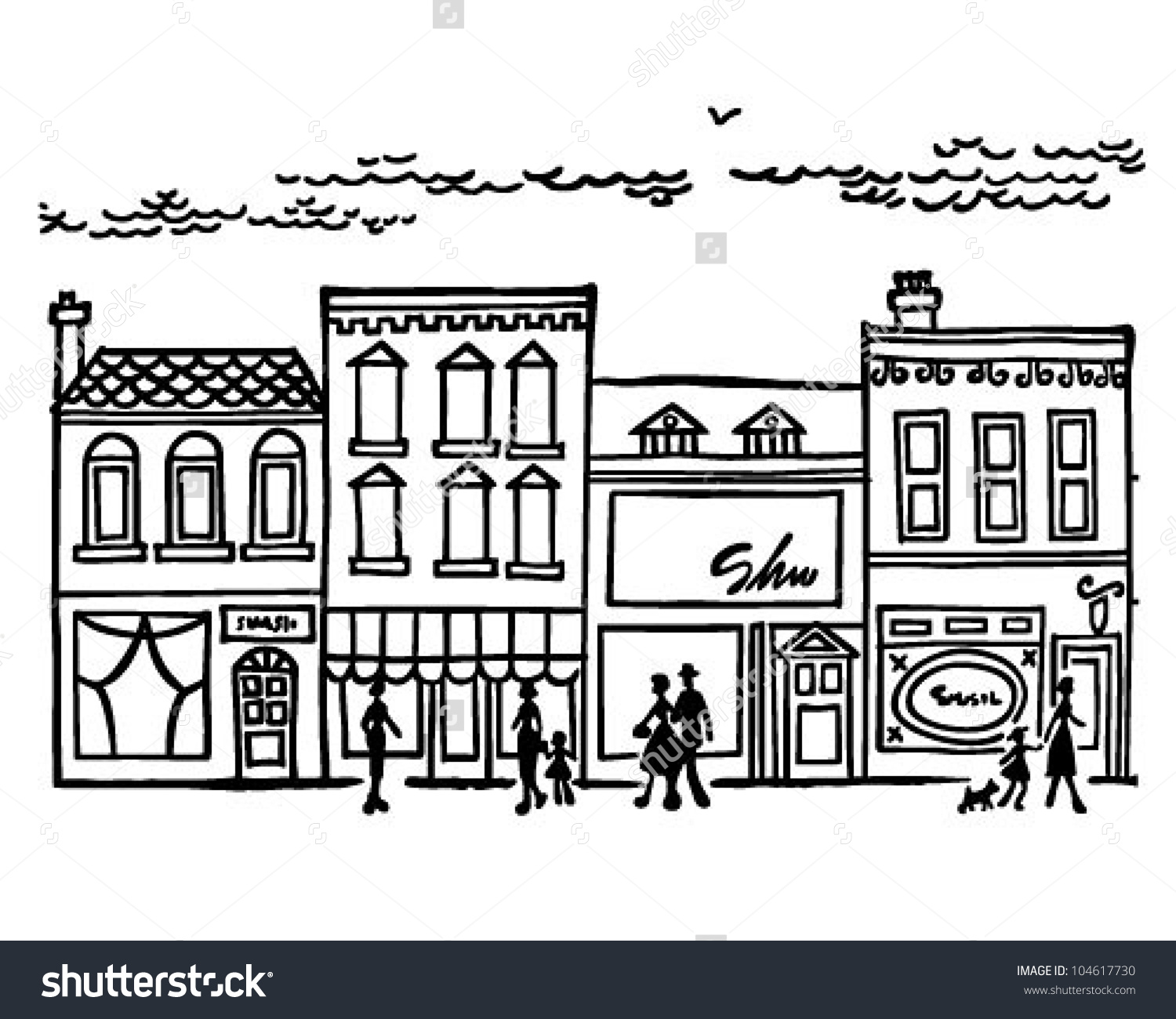 Small Town Main Street Retro Clipart Stock Vector 104617730.