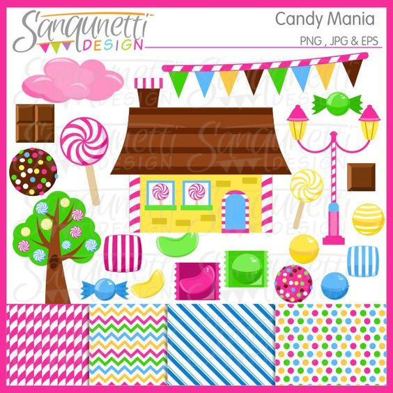 Candy Maina Clipart includes bright and bold wrapped candy, cotton.