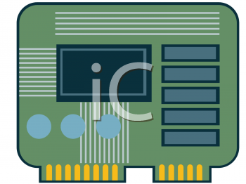 Royalty Free Clip Art Image: Computer Motherboard Card.