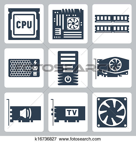 Clip Art of Vector hardware icons set: CPU, motherboard, RAM.