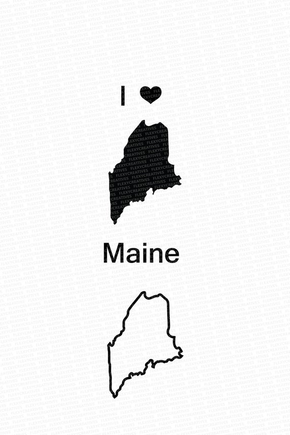 Maine Vector, State Clipart, Maine Clip Art, Maine Map Clip art SVG, State  png, DXF, pdf, EPS #mp.