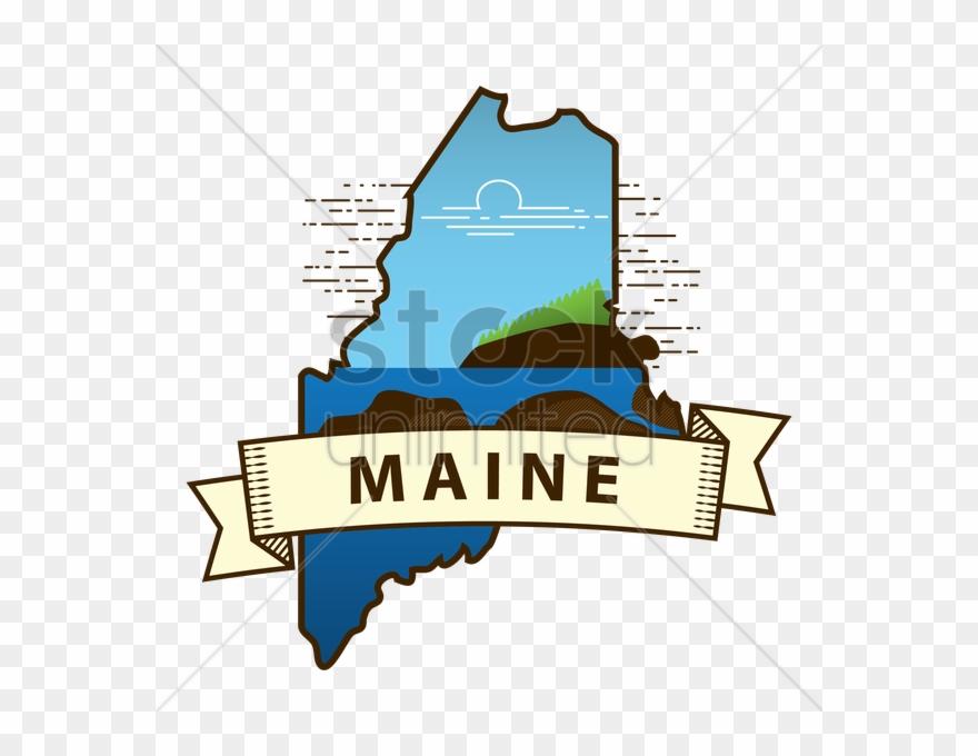 Maine Map Clip Art.