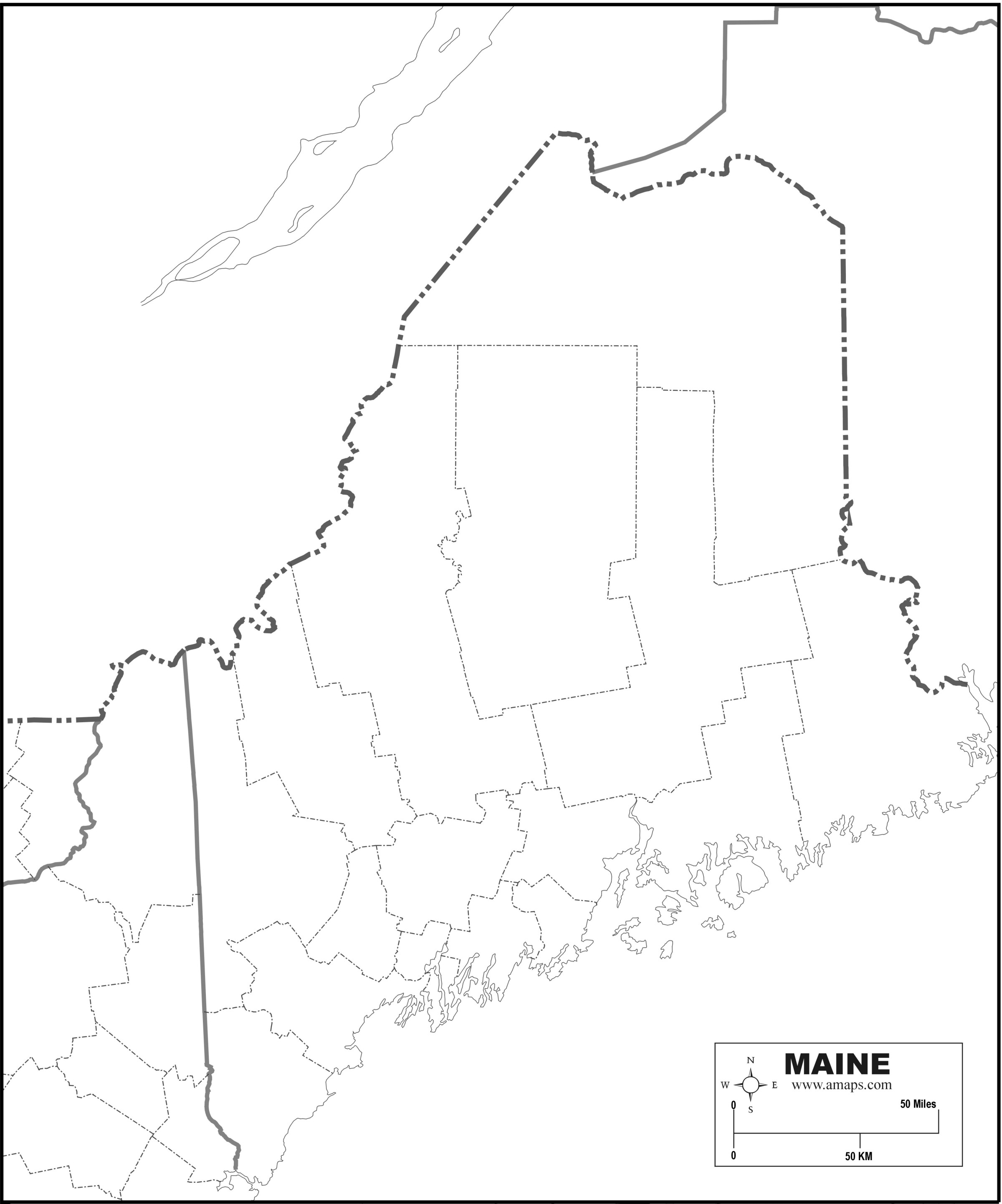 Outline Map Of Maine With State Clipart : Outline Map Of Maine.