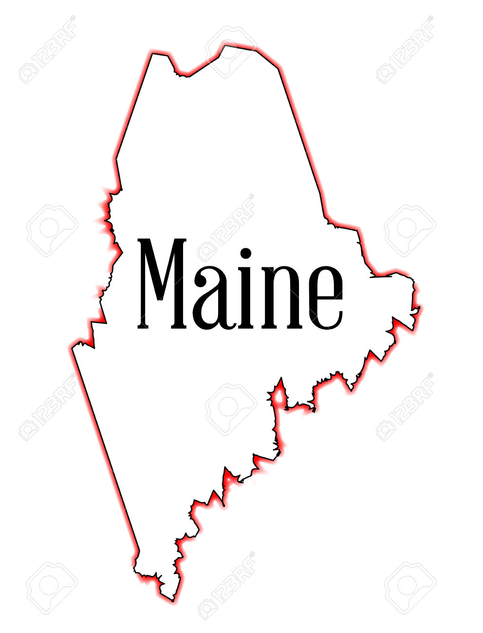 Outline Map Of The State Of Maine Over White Royalty Free Cliparts.