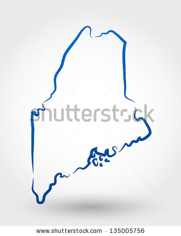 Maine Outline Stock Images, Royalty.