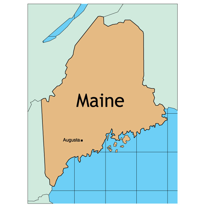 VECTOR MAP OF MAINE.