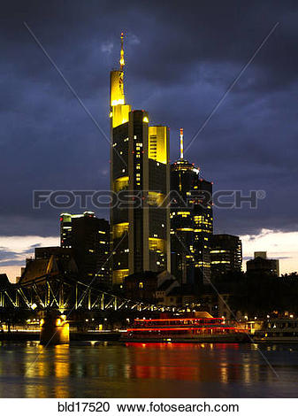 Stock Photography of Germany Frankfurt downtown Skyline at sunset.