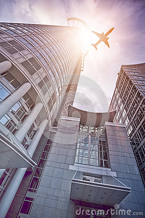 Frankfurt Skyscraper With Plane Stock Photo.