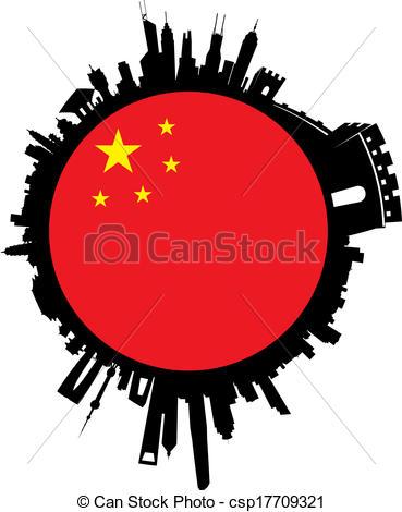 Vector Illustration of China Globe Sphere Skyline.