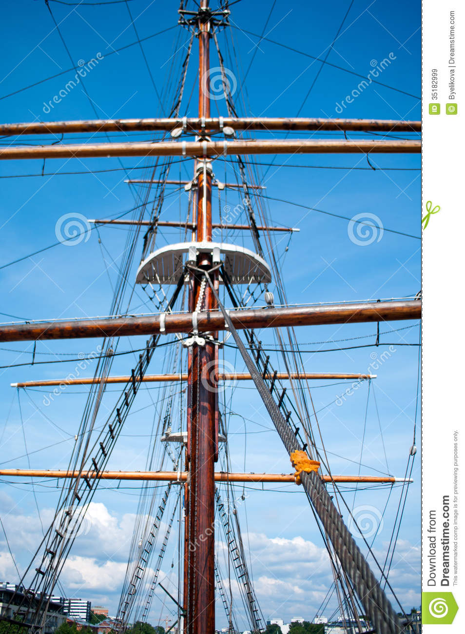 Rope Ladder To The Main Mast Of The Ship Royalty Free Stock Images.