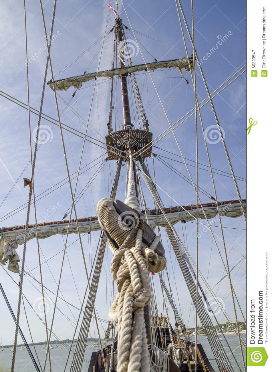 Mainmast And Ships Rigging Stock Photo.