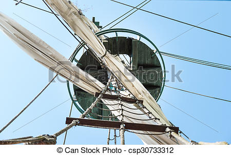 Stock Photography of Crow's nest on the mainmast of a ship.