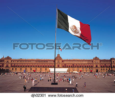 Stock Photography of Zocalo ( Main Plaza ) and National Flag and.