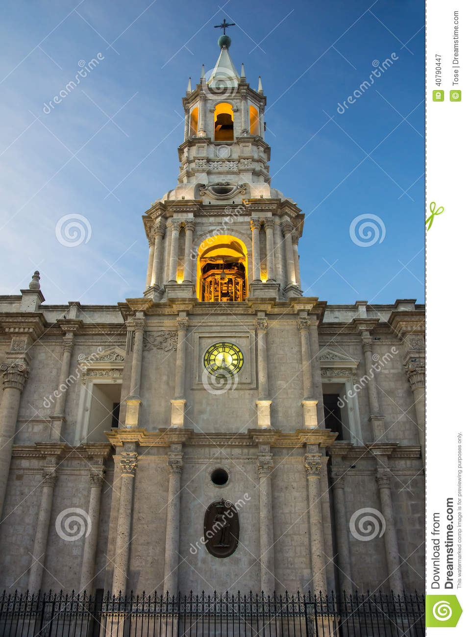 Cathedral At Main Plaza, Arequipa, Peru Stock Photo.