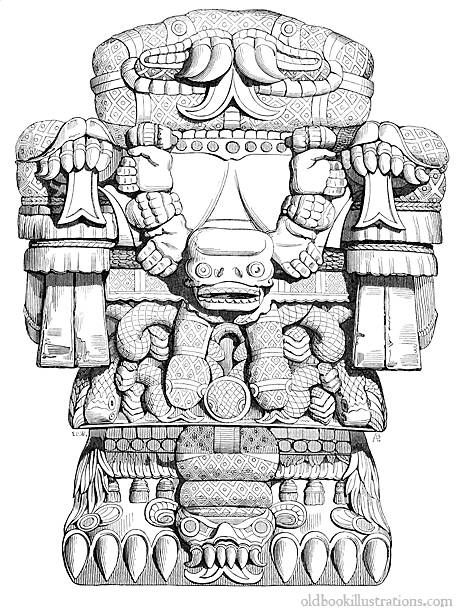 Illustration showing the Coatlicue statue, which was discovered in.