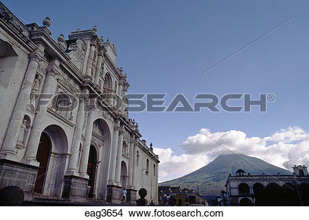 Stock Photo of White CATHOLIC CHURCH in the main plaza with.