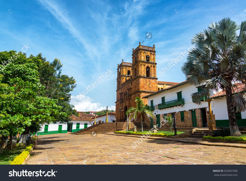 Beautiful Cathedral Main Plaza Town Barichara Stock Photo.