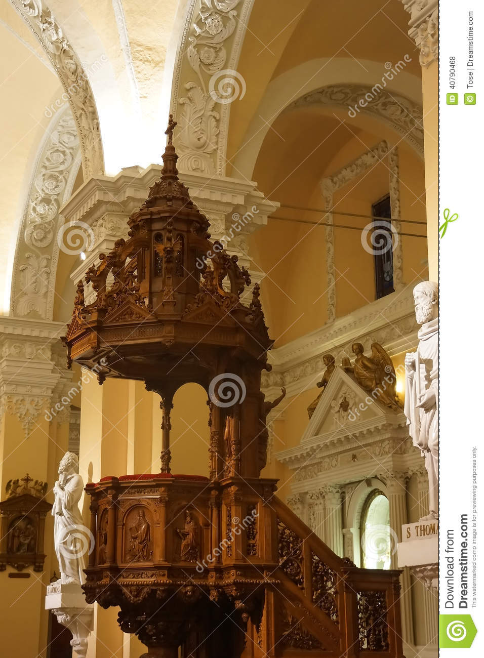 Pulpit Of The Cathedral At The Main Plaza, Arequipa, Peru Stock.