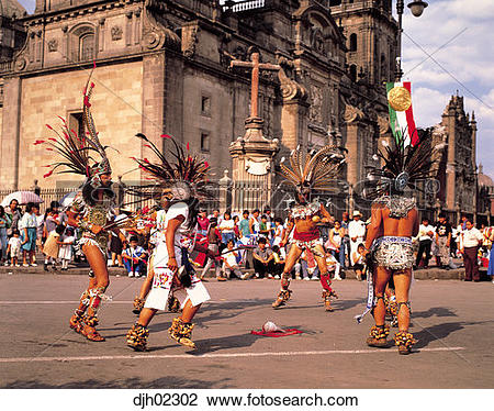 Stock Photo of Aztec Dancers Group at Zocalo ( Main Plaza ) in.
