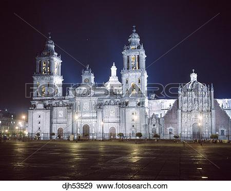 Stock Photograph of Mexico,Mexico City,Cathedral,Main Plaza.