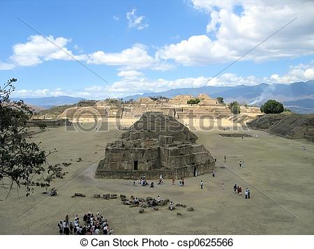 Stock Image of Ruins of the main plaza, Monte Alban, Mexico.