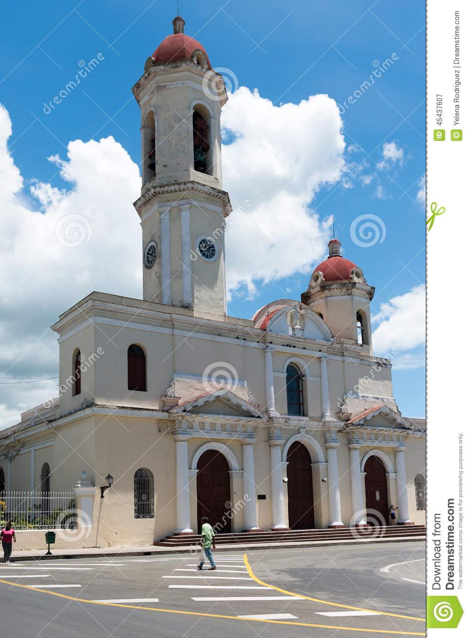 Catholic Church In Cienfuegos Main Plaza Editorial Photography.