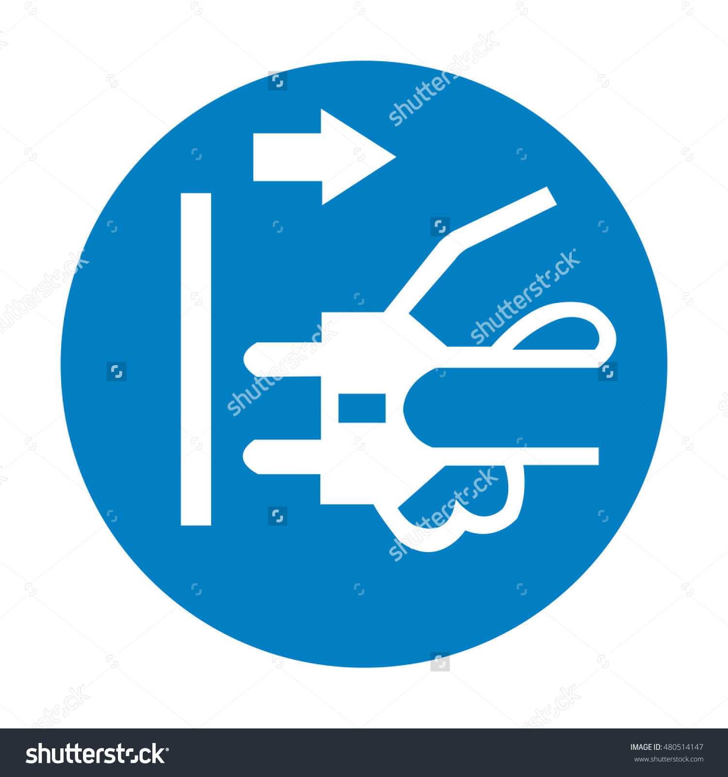 Disconnect Mains Plug From Electrical Outlet Sign Stock Vector.