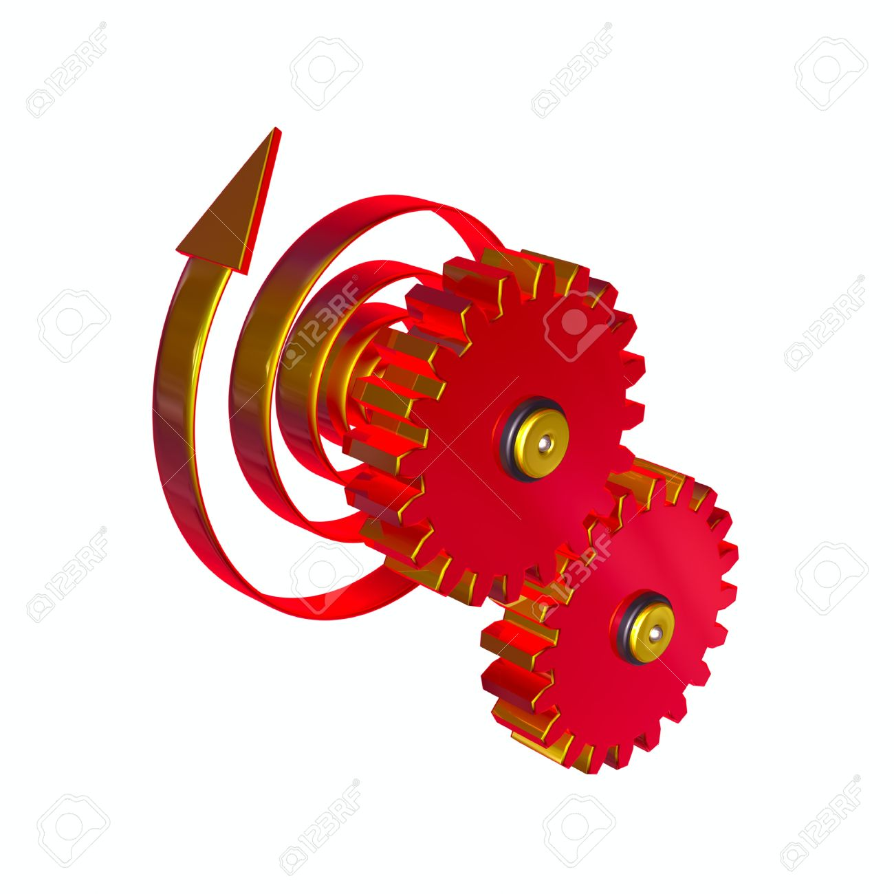 3d Illustration, Two Gear Wheels Rotate By Means Of A Mainspring.